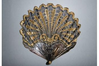 Golden shell, fan circa 1900-1910