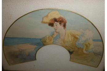 Elegant by the sea, fan leaf by Péan, Belle Epoque