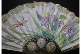 Iris and dragonfly, Art Nouveau fan by Daudet and Duvelleroy