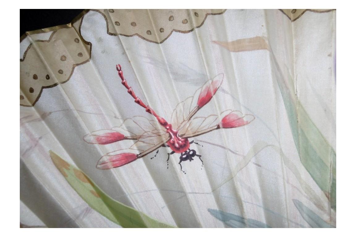 Iris et libellule, éventail Art Nouveau de Daudet et Duvelleroy