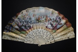 The entry of Queen Victoria into Paris, fan circa 1855