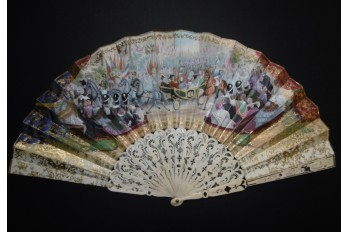 The entry of Queen Victoria into Paris, fan circa 1855