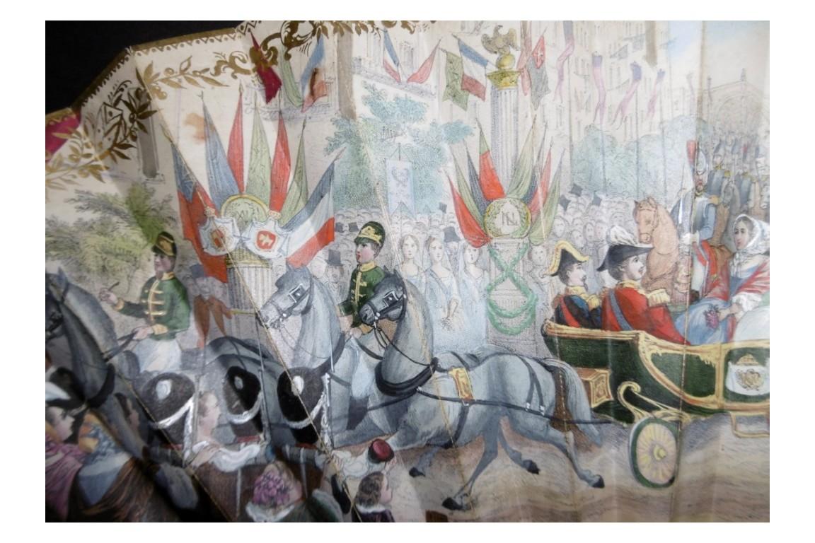 L'entrée de la reine Victoria à Paris, éventail vers 1855