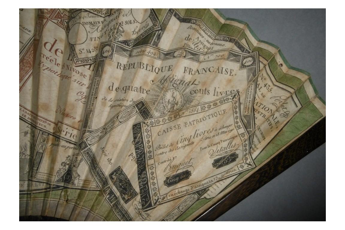 Assignats révolutionnaires, éventail vers 1792