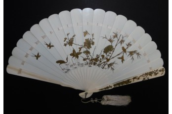 Rooster and pheasant, 19th century fan, Japan