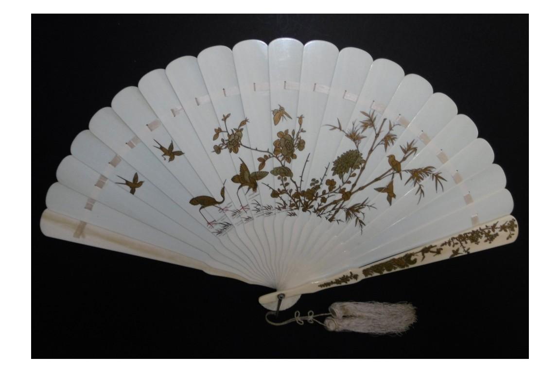 Coq et faisan, éventail XIXème siècle, Japon