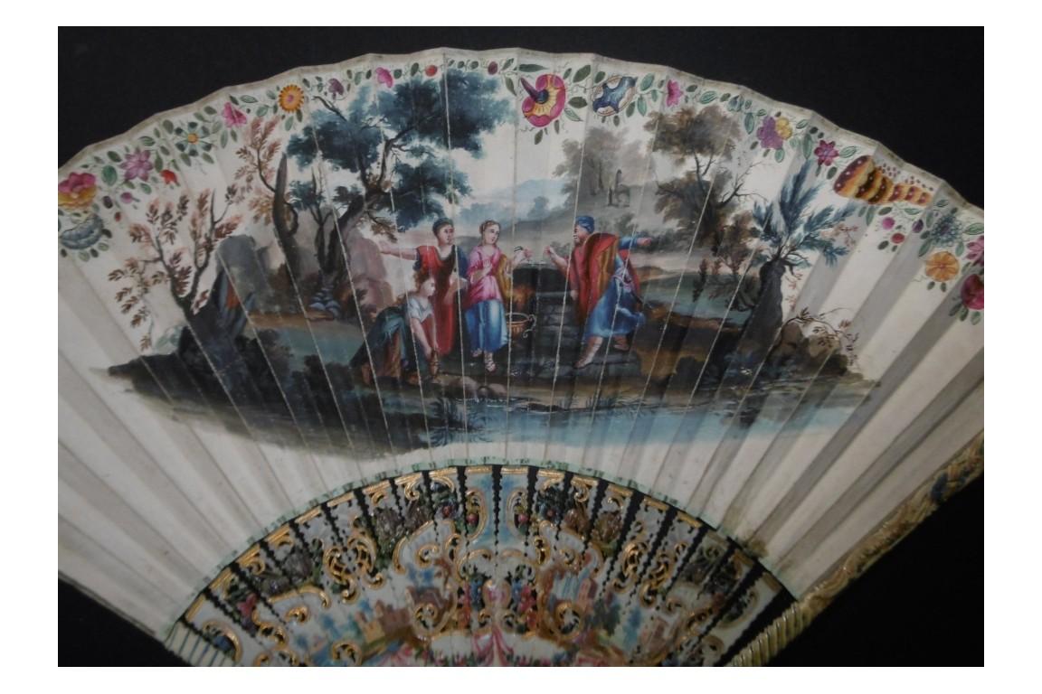 Rebecca, Eliezer.... and rabbits, 18th century fan