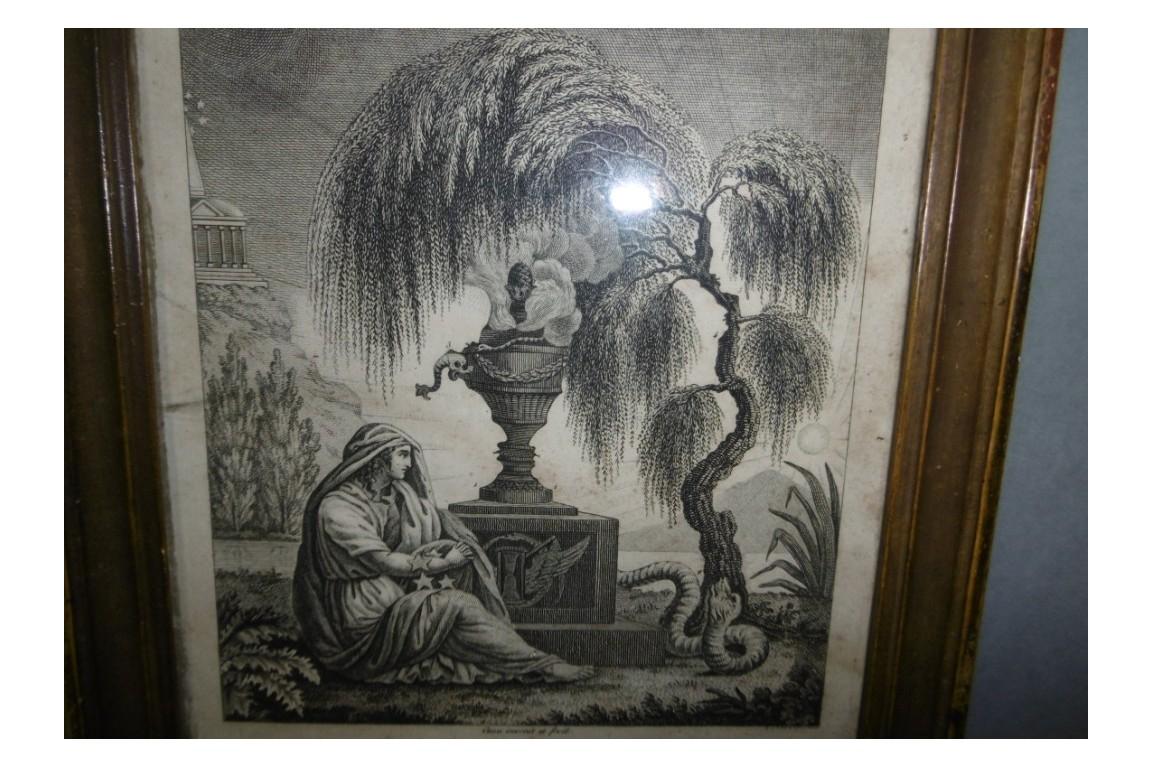 Le saule pleureur, gravure séditieuse royaliste XIXème siècle