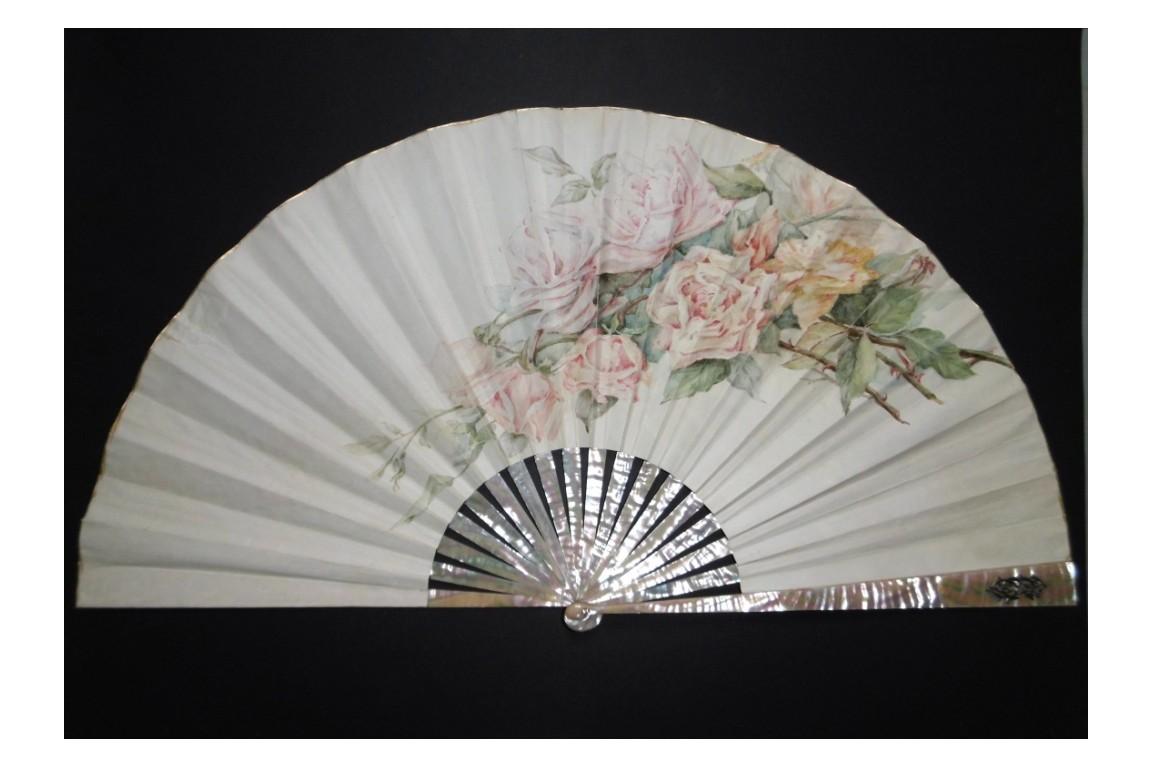 Roses, fan circa 1880-1890