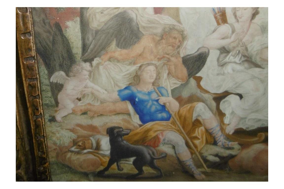 Diana and Endymion, 18th century gouache