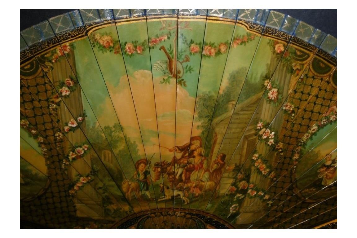 Golden pastoral, 19th century fan