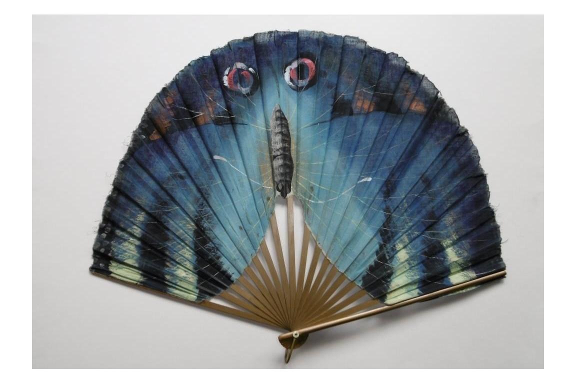Papillon bleu, éventail début XXème