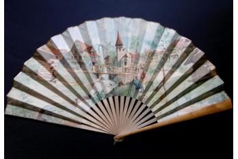 Éventail Souvenir du Village Suisse, exposition de Genève 1896
