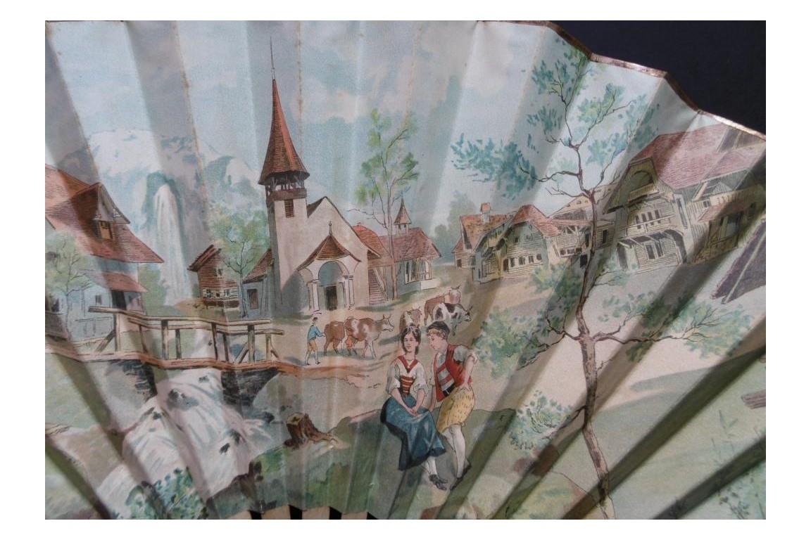Fan Souvenir du village Suisse, Swiss exhibition 1896