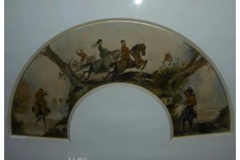 Chasse à courre, projet d'éventail XIXème siècle