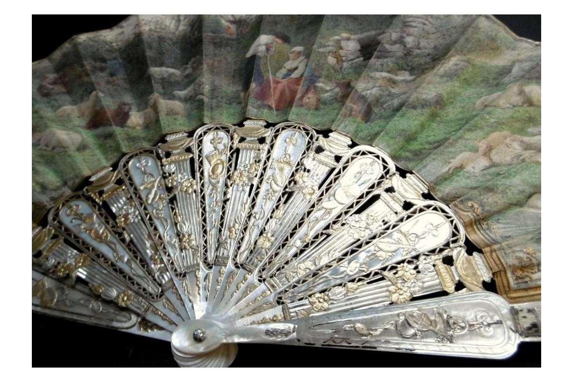 The vigilant mother, fan by Rudaux 1869