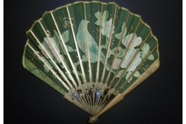 Bird and grappes, Duvelelroy fan circa 1900