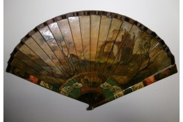 Nobles arriving at the port, late 19th century fan. Spain ?