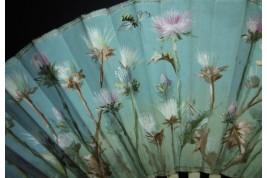 Bees and thistles, fan circa 1900