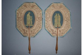 Human alphabet in Grand Tour style,  fixed fans early 19th century