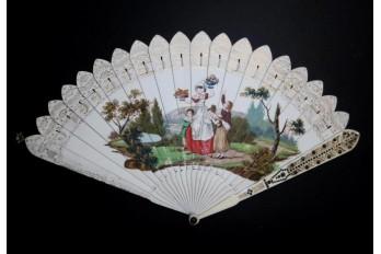 Snack time, dance card fan, circa 1820-30