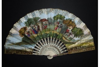 Skating in winter and socializing in summer, fan circa 1830