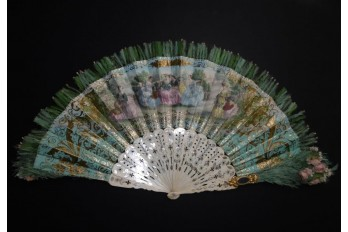 Fan with bouquet, circa 1855