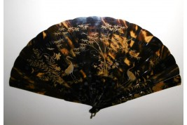 Quails and herons, Japanese fan, 19th century