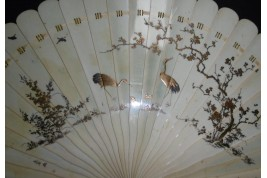 Flowers and herons, Japanese fan, 19th century