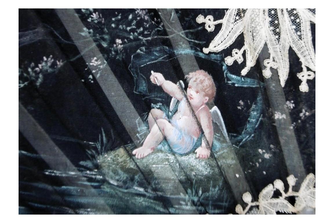 Fishing angels, fan by Boillat, circa 1890-95