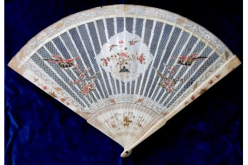 Phoenix and peonies, chinese fan, circa 1690-1710