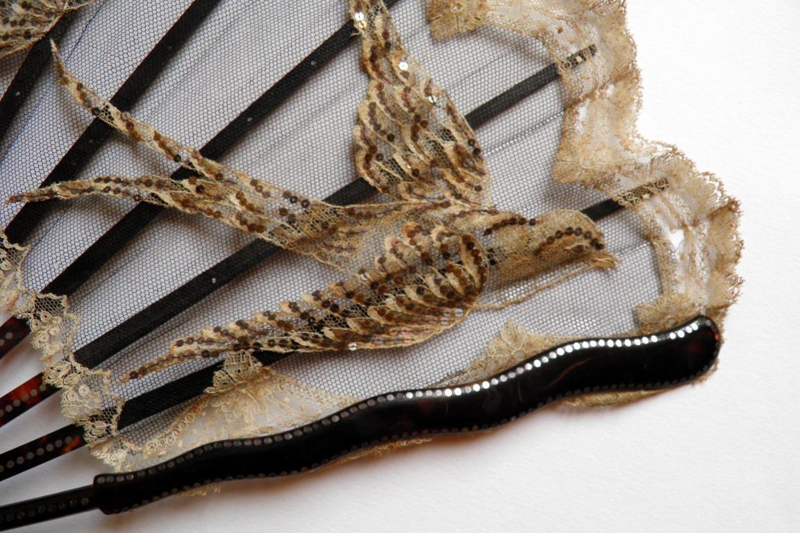 Lace swallows, fan circa 1900